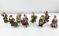 Lot Of 8 International Santa Claus Collection Figurines Russia Poland Turkey +++