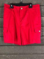Chaps 413 Red Cargo Bermuda Shorts Women's 6