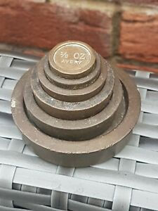 Set of  Vintage Brass Kitchen, Shop or Post Office Scale Weights Avery