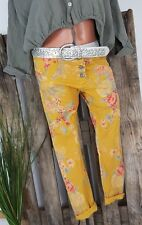 NEU  ITALY BAGGY BOYFRIEND HOSE PANTS STRETCH SHABBY ROSEN PRINT CURRY XL 40 42