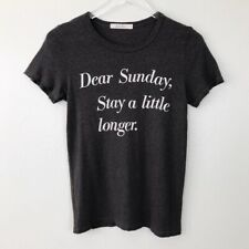 Anthropologie Junk Food Dear Sunday Tee Dark Gray Fitted Women Size Small