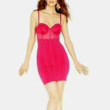 guess pink lace bustier bodycon mesh cutout sexy top dress XS 0 2