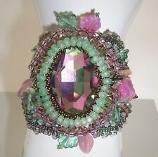 GREEN PINK PURPLE PEACH SHIBORI SILK FACETED CRYSTAL HAND-BEADED CUFF BRACELET