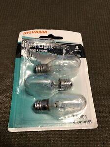 SYLVANIA 13549 CANDELABRA NIGHT LIGHT 4 WATT LIGHT BULB 4W 120V C7 4C7/BL/3PK