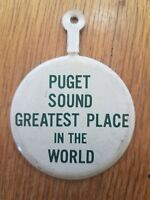 Puget Sound Great Place In The World Washington Tab Foldover Pinback Button