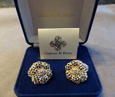 Camrose & Kross Jacqueline Kennedy Empress Blue/Clear Crystal Clip Earrings NIB
