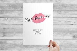 Framed or Unframed Personalised Kiss The Miss Goodbye Hen Party Keepsake