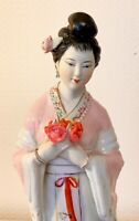 Vintage Chinese Porcelain Ceramic Lady  Ornament Figurines Statues  12 ins Tall