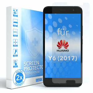 EAZY CASE 2x Screen Protector Glass for Huawei Y6 (2017) Safety Hard Foil 9H