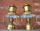 Pair of VTG IDEAL BRENNER Brass Hanging Kerosene Oil Hurricane Marine Lanterns