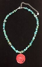Relios Carolyn Pollack stunning sterling silver necklace turquoise, carved coral