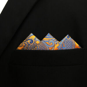 PH26 Paisley Orange Blue Handkerchief Mens Hanky Big Size Hankies Pocket Square
