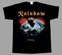 RAINBOW RISING'76 BLACKMORE  NEW BLACK SHORT/LONG SLEEVE T-SHIRT