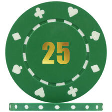 Budget Range Suited Numbered Poker Chips - Green 25 (Roll of 50)