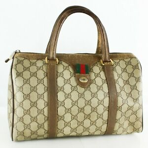 GUCCI Vintage Accessory Collection GG PVC Canvas Webbing Boston Hand Bag JUNK