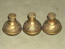 Old vintage brass salt pepper spices or oils screw top hand drilled holes