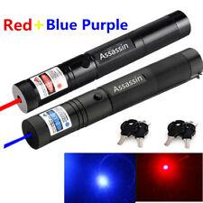 2x 900Miles Astronomy Red+Blue Purple Laser Pointer Zoom Focus 18650 Lazer Torch