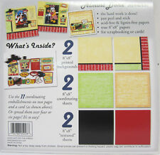 """Almost Done 8""""x8"""" Scrapbooking Page Kit 6 Paper & 11 Embellishments Peel & Stick"""
