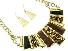 DESIGNER INSPIRED BROWN AND BLACK LEOPARD PRINT GOLD  TONE NECKLACE EARRING
