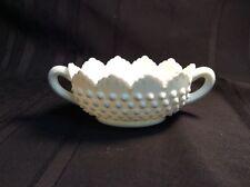 Fenton Hobnail white milkglass open oval sugar bowl with handles ( N 4 )