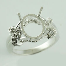 Authentic Semi Mount Oval Shape Ring 9x11 Mm Cab Setting Exotic Silver Jewelry