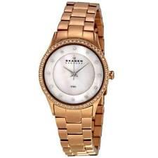 Skagen Women's 347SRXR Mother Of Pearl Dial Rose Gold Steel Bracelet Watch