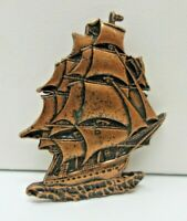 Vintage Pewter Pirate Sailing Ship BROOCH Pin Copper one EUC