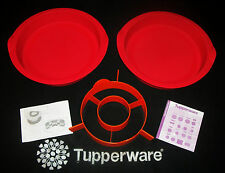 "Tupperware 2 RED Silicone 10"" Round Cake pans + ORANGE Chessboard Insert ~NEW"