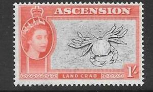 ASCENSION SG66 1956 1/- BLACK AND VERMILION MTD MINT