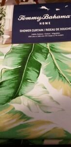 New Tommy Bahama Island Floral Tropical Swaying Palms Green Shower Leaves