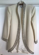 Nolan Miller Cream WOOL Lined SEQUENCED Holiday EVENING Formal Jacket BLAZER 6