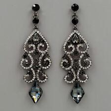Alloy Black Clear Crystal Rhinestone Chandelier Drop Dangle Earrings 06218