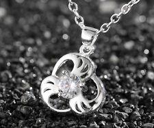 925 Silver plating Fashion Women Crystal Rhinestone Necklace Pendant Chain #2