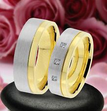 2 Trauring Eheringe Verlobungsringe , GOLD PLATIERT , J235-3