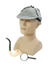 Detective Travestimento Kit Cappello Pipe Occhiali Sherlock Holmes Spia FANCY DRESS