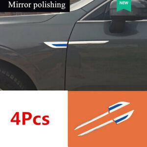 Chrome+Blue Car Front Side Door Fender Cover Trim Decoration Universal 4Pcs/Set