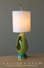 RARE! ITALIAN BIOMORPHIC PORCELAIN LAMP! MID CENTURY MODEN GREEN 50'S EAMES VTG