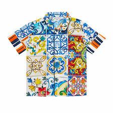 Dolce & Gabbana Short-Sleeved Cotton Shirt With Majolicas Print
