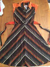 Vintage PHASE II Disco Retro DRESS Black Orange 1970s Sz 7 Striped