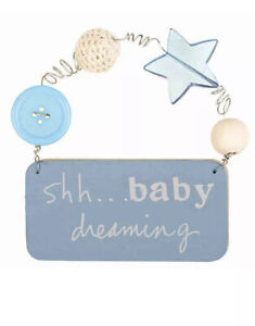 """Shh... Baby Dreaming Small Wall Plaque In Blue C.R.GIBSON 4x5"""" Baby Room Decor"""