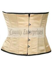 Full Steel Bone Shaper Cincher Taillen Waist bust Cream Beige Ivory Satin Corset