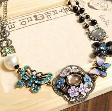 Betsey Johnson Jewelry Retro Pendant Rhinestone butterfly Flower pearl necklace