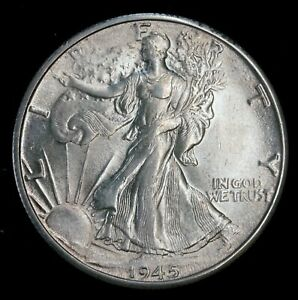 1945-D 50c Walking Liberty Half Dollar U.S. 90% Denver Mint State Silver Coin