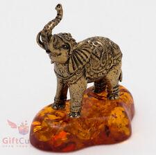 Solid Brass Amber Figurine of Indian Elephant talisman IronWork