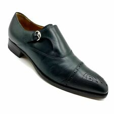 Gucci Dark Green Leather Single Monk strap Cap Toe Brogue Shoes Size 9.5 US 10.•