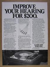 1972 Garrard Zero 100 Turntable vintage print Ad