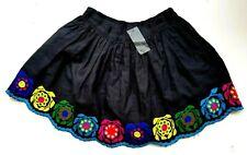 Topshop Womens Mini Skirt Black Floral Embroidered Folk Boho Flippy Full 8 £45