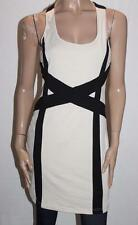 VALLEYGIRL Designer Beige Black Cross Back Fitted Dress Size L BNWT #SY81