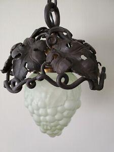 Vintage Wrought iron hanging pendant grape cluster light lamp, wine cellar