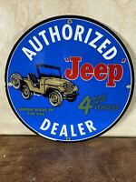 "51 VINTAGE STYLE ""JEEP"" DEALER SIGN HEAVY PORCELAIN SIGN 12 INCH. 4 WHEEL DRIVE!"